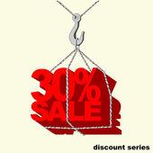 Etiqueta de rojo -30 por ciento venta colgada en el gancho de la grúa. — Vector de stock