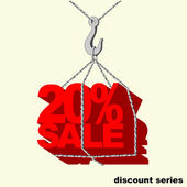 Red -20 percent sale tag hanging on the hook of a crane. — Stockvector