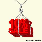 Vinç kancaya asılı kırmızı -10 yüzde satılık etiketi. — Stok Vektör