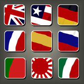 Apps ikonen vektor set, flaggor. smartphone ansökan fyrkantiga knappar — Stockvektor
