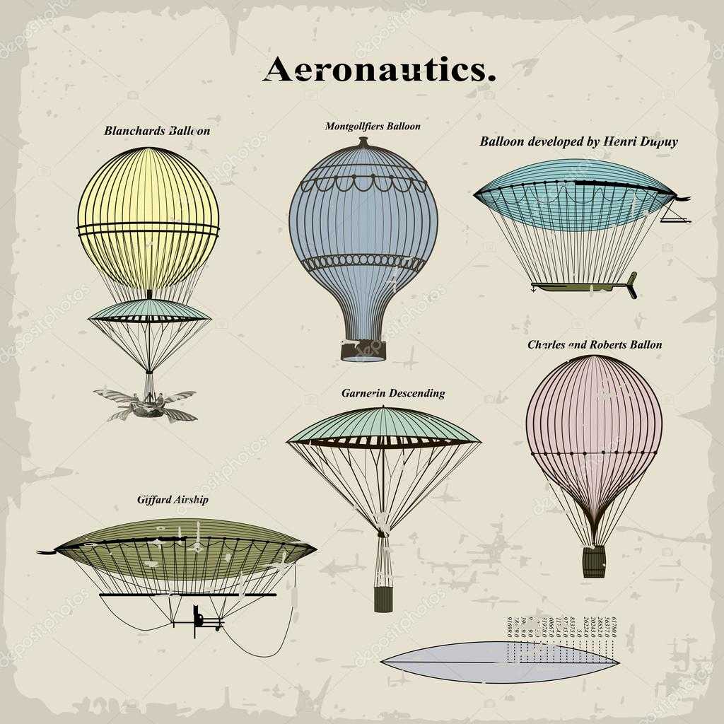 Vintage Illustrations Vector Vector Set Vintage Hot Air