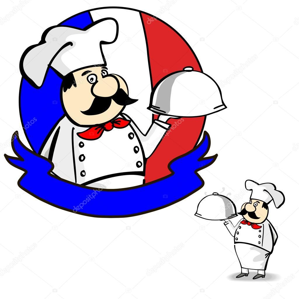 Cartoon franse chef kok banner ontwerp menu en label for Chef en frances