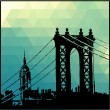 View of the Brooklyn Bridge and the Empire state building — Stock Vector