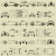 Seamless pattern , vintage sports racing cars — Grafika wektorowa