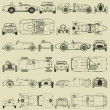 Seamless pattern , vintage sports racing cars — Imagen vectorial