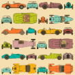 Colorful seamless pattern, vintage sports cars — Stock Vector