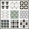 Monochrome Geometric Seamless Retro patterns set.  — Stock Vector