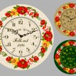 Folk Art. Antique wall clock — Imagen vectorial
