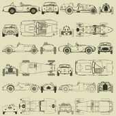 Seamless pattern , vintage sports racing cars — Stock Vector