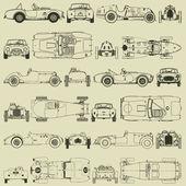 Dikişsiz desen, vintage spor yarış araba — Stok Vektör