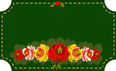Folk Art. Banner of traditional hand-painting decoration of flowers — Stock Vector