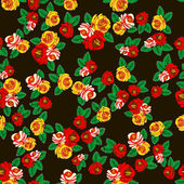 Folk Art. Vintage seamless pattern of roses — Stock Vector