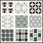 Monochrome Geometric Seamless Retro patterns set. — Stock Vector