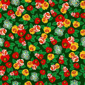 Folk Art. Vintage seamless pattern of roses — Stock Vector