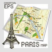 Mappa concettuale turistico di parigi — Vettoriale Stock