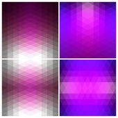 Set Abstract geometric patterns of triangles. Flow spectral pink light. — Stock Vector