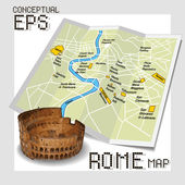 Conceptual tourist map of Rome — Stock Vector