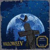 Ilustracja halloween cmentarza z krzyże na duży księżyc — Wektor stockowy