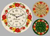 Folk Art. Antique wall clock — Stock Vector