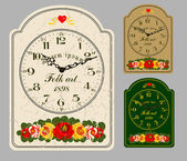 Folk Art. Antique wall clock — Stock Vector