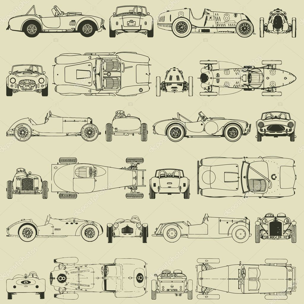 Download  Seamless pattern , vintage sports racing cars — Stock