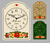 Antique wall clock, set the dial and hands. — Stock Vector