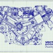Drawing old engine on graph paper.  — Image vectorielle