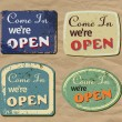 Vintage metal sign - Open — Image vectorielle