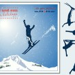 Alpine landscape, Skier flying in the sun and mountains — Vektorgrafik