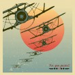 Stock Vector: Vintage Planes dive against evening sun