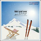 Ski and Empty sun-lounger at mountains in winter — Stock Vector
