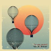 Vintage hot air balloons fly against the evening sun — Stock Vector