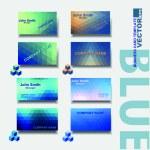 Modern business card template, blue set — Stock Vector