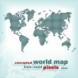 Stock Vector: Conceptual world map from round pixels