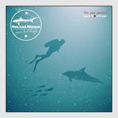 Silhouette of a diver and dolphin underwater — Stock Vector