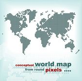 Conceptual world map from round pixels — Stock Vector