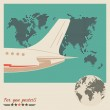 Airliner on world map background, retro poster — Stock Vector