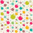Abstract seamless white pattern with colorful balls (vector) — Stock Vector