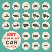 набор плоских икон, форма автомобиля — Cтоковый вектор