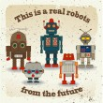Vector Collection of Colorful Retro Robots — Stock Vector #43312117