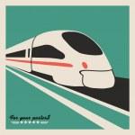 Train, railway emblem. Flat vector design — Stock Vector