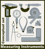 Measuring instruments,  conceptual vector set — Stock Vector