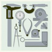 Measuring instruments on graph paper,  conceptual vector set — Stock Vector