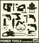 Power Tools - conceptual set of isolated vector icons — Stock Vector