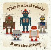 Vektorové kolekce barevných retro robotů — Stock vektor