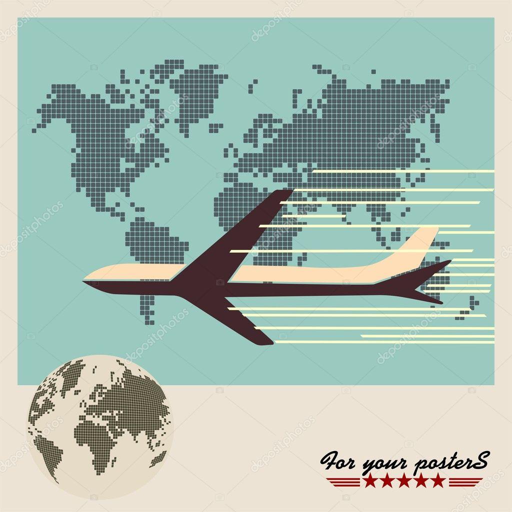 对世界地图背景,复古海报架客机 — 图库矢量图像08