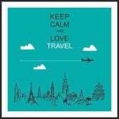 """Seyahat ve turizm arka plan. çizilmiş eller dünya turistik ve slogan """"sakin ve sevgi seyahat tutmak"""" — Stok Vektör"""
