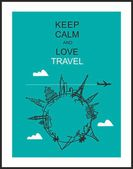 "Travel and tourism background . Drawn hands world attractions and slogan ""Keep calm and love travel"" — Stock Vector"