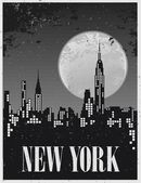 Poster of a night in New York against the backdrop of a full moon — Stock Vector