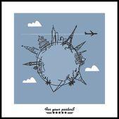 Fundo de viagens e turismo. atrações de mundo mãos desenhado — Vetor de Stock